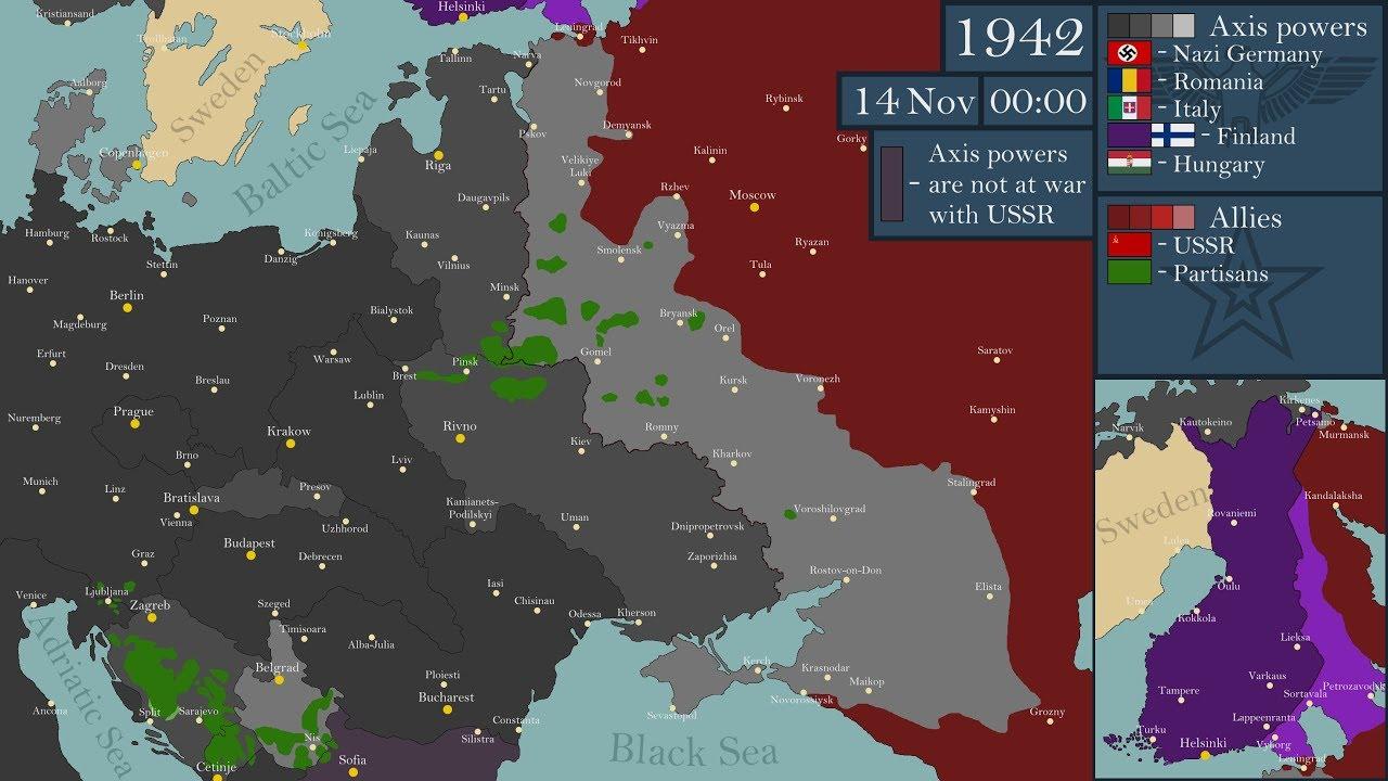 Teise maailmasõja idarinde rindejooned kaardil 1941 - 1945
